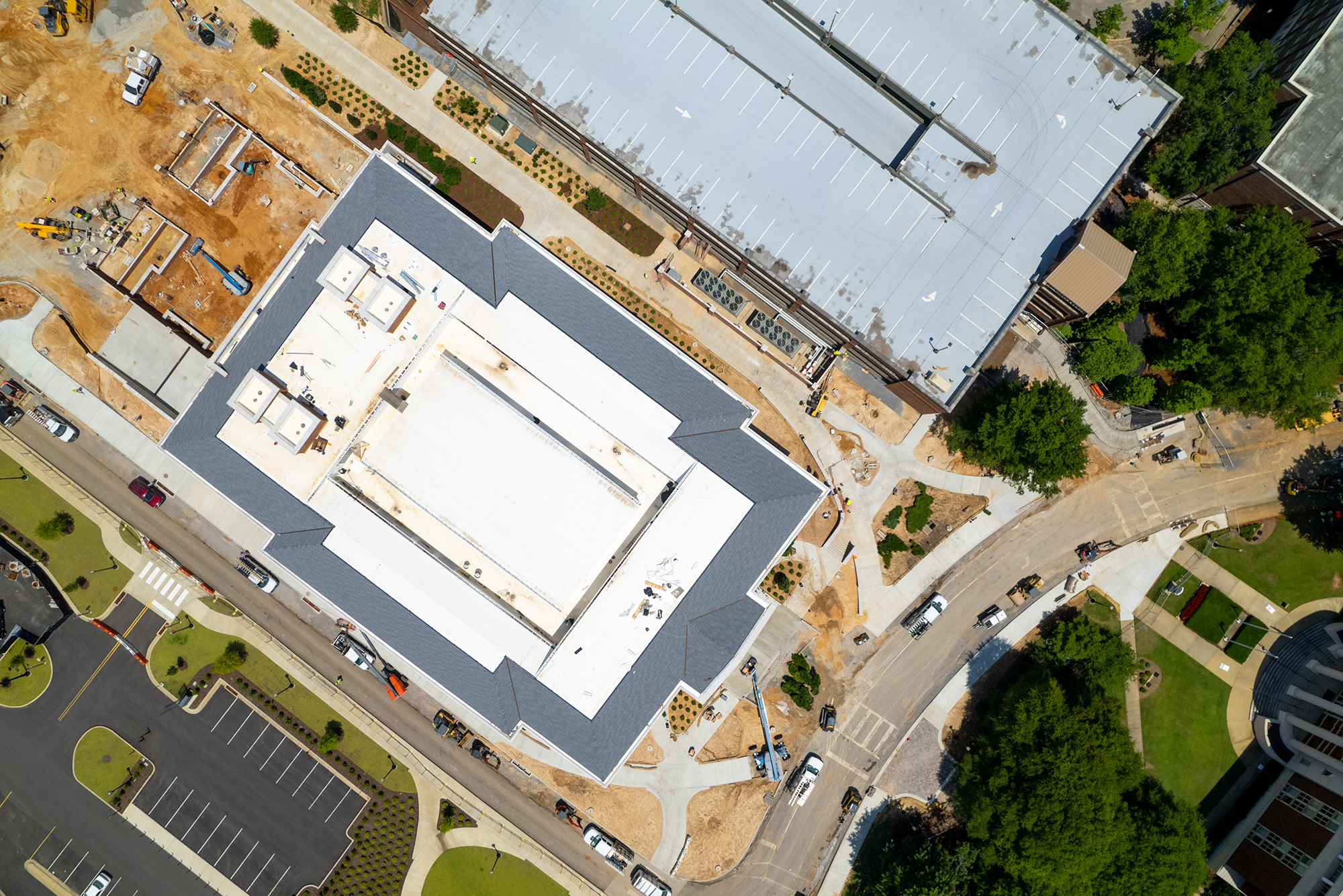 aerial view of Hewson Hall at The University of Alabama campus